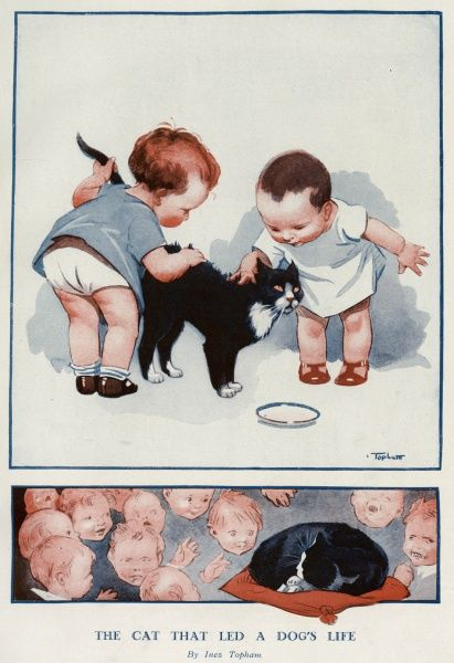 Two toddlers stroking a cat. Date: 1930