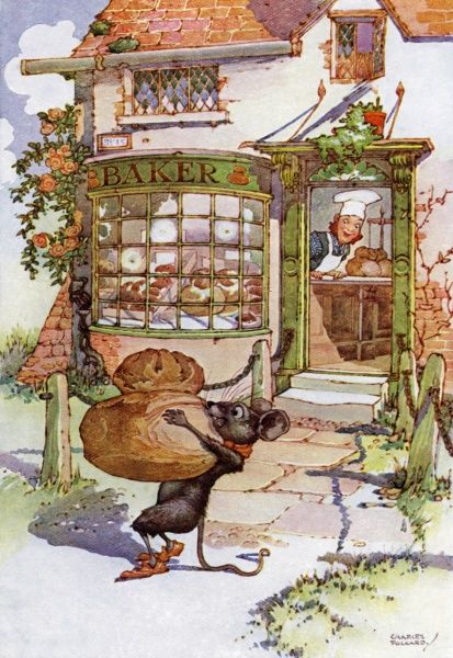 The Cat and the Mouse by Charles Folkard. 'Pray give me some bread'. A fairy tale by Charles Perrault