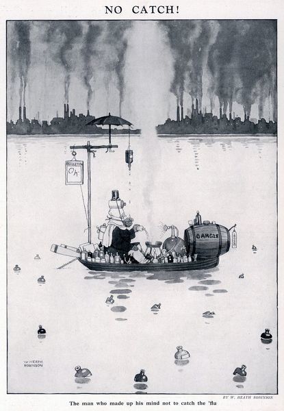 The man who made up his mind not to catch the flu by William Heath Robinson. Please note: Credit must appear as Courtesy of the estate of Mrs J.C.Robinson/Pollinger Ltd/ILN/Mary Evans