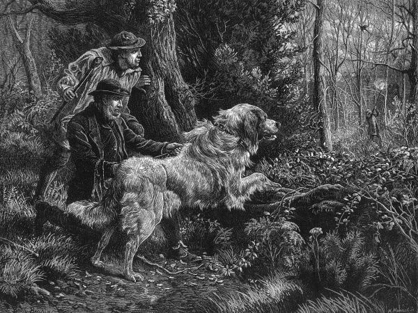 A sketch of a pheasant poacher being caught in the act