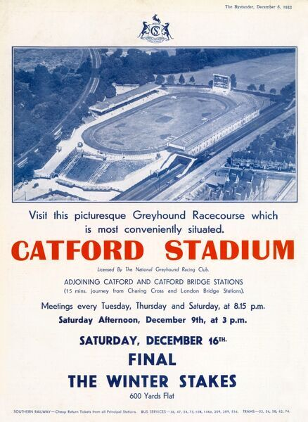 Advert for Catford greyhound stadium in Catford, South East London, which opened its doors in July 1932 and has been hosting greyhound races ever since, showing an aerial view of the stadium