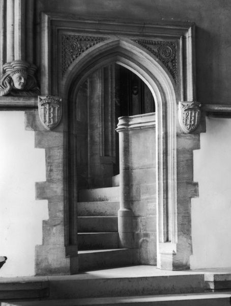 A fine doorway, dating from the 15th century, in the Chapter House of Christchurch Cathedral, Oxford, England