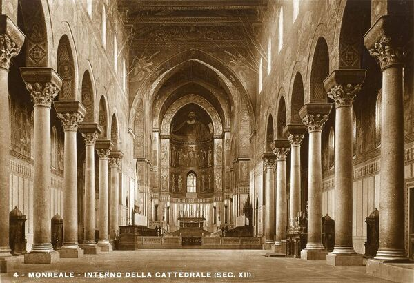 The interior of the Cathedral of Monreale, Sicily - one of the greatest extant examples of Norman architecture in the world