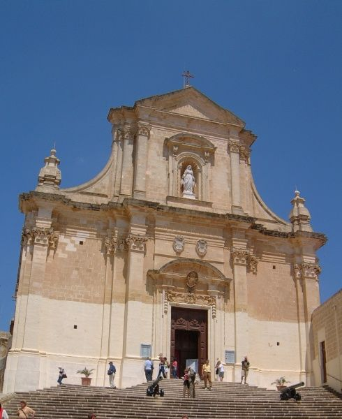 The facade f the cathedral in Victoria / Rabt on Gozo, Malta