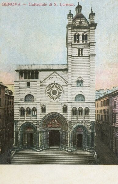 Cathedral of San Lorenzo (Saint Lawrence) - Genoa, Italy. The dome and the medieval parts of the Cathedral were restored in 1894-1900, dating this photograph (if not the card!) to pre-1894!