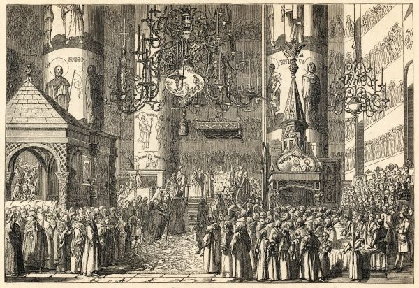Catherine the Great is crowned Empress of All Russia in the Dormition Cathedral of the Moscow Kremlin