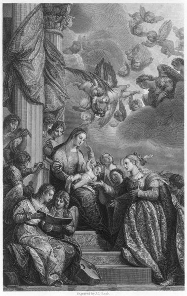 ST CATHERINE OF SIENA is mystically married to the infant Jesus while musicians strum and angels arrive with a bridal crown