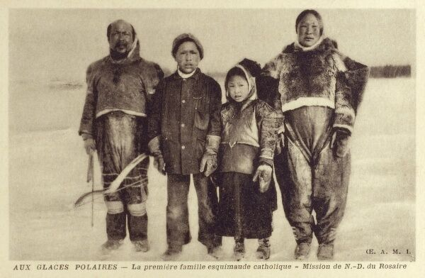 An Inuit (Eskimo) family who converted to Catholicism - Newfoundland and Labrador Date: circa 1910s