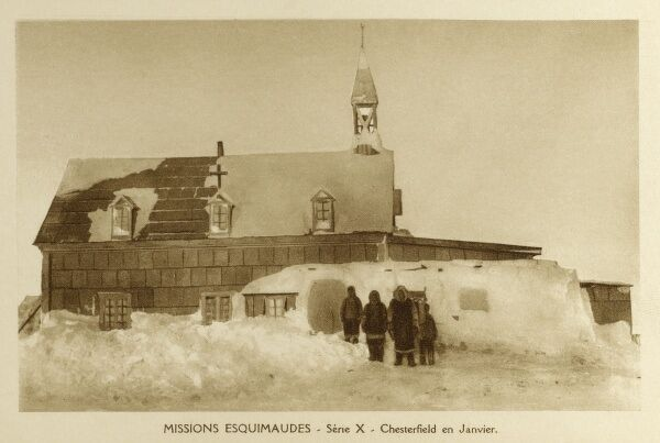 The Eskimo (Inuit) Catholic Mission - Chesterfield, Newfoundland and Labrador in January. Date: circa 1920s