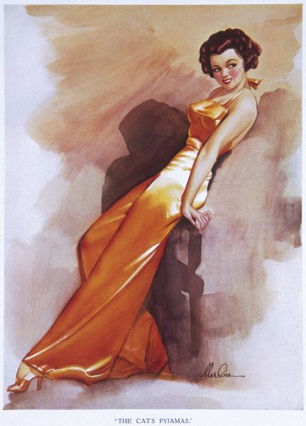 Dark-haired pin up girl by Merlin Enabnit (1903-1979) wearing revealing orange pyjamas. Enabnit was born in Des Moines, Iowa and was a successful commercial artist. He produced 24 pin up illustrations for The Sketch during the 1940s