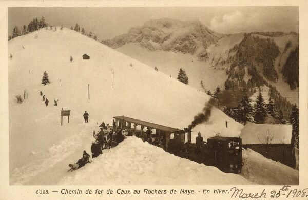 The Chemin de fer MontreuxGlionRochers-de-Naye railway at the small village of Caux, Switzerland in Winter, depositing skiers and sledgers directly at the top of their run! Date: 1908