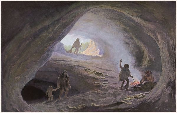 Cave dwellers of the Ice Age (Pleistocene era), bringing home the day's catch and joining the rest of the family around the fire