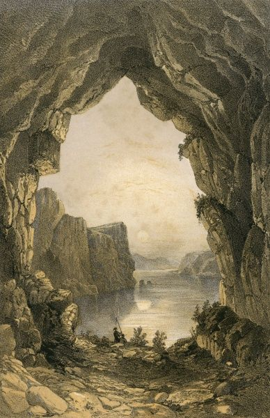 Cavern on the shores of lake Oulunjour, Mongolia. Date: 1858