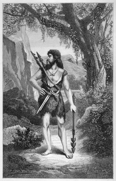 A prehistoric cave man, with spears for hunting wild animals