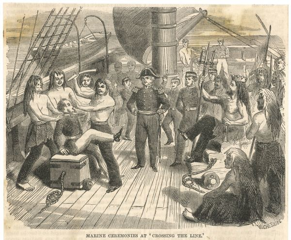Scene on a Royal Navy ship. It is the custom on board ship to indulge in merrymaking when crossing the Equator -- in fancy dress if it's your first time
