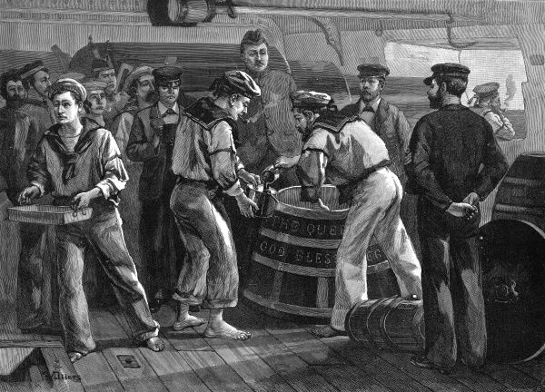 Engraving showing the distribution of 'grog' (watered down rum) on board HMS 'Sultan' to celebrate the Jubilee of Queen Victoria in 1887
