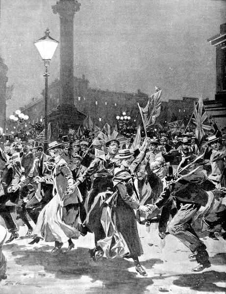 Illustration showing the crowd, dancing in Trafalgar Square, celebrating the news of the Relief of Mafeking during the Boer War, 1900