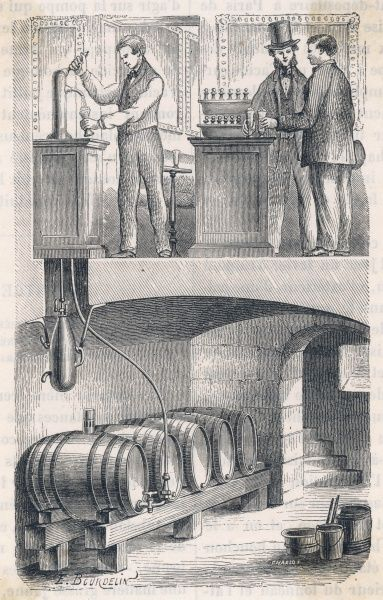 How the beer gets from the barrels in the cellar to the beer-pull on the bar counter, thanks to carbonic acid gas in Hermann- Lachapelle's apparatus