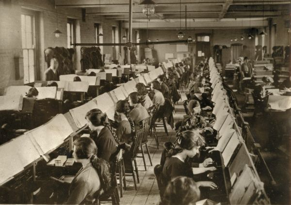 Data from the 1931 census being transferred to punched cards in the former Lambeth workhouse - presumably the one on Princes Road (now Black Prince Road), Lambeth, south London