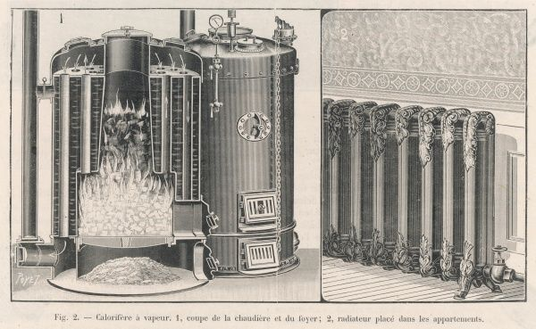 A steam central heating system. The left picture shows the boiler which heats the steam, the right picture shows a typical radiator in the room