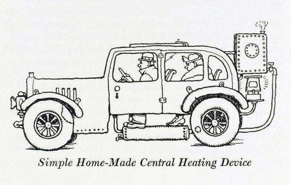 The 'Autofooetjoye' central heating device, consisting of a small zinc water tank glued to the back of the car, warmed by an oil stove with connecting pipework that the driver can rest his feet on whilst driving