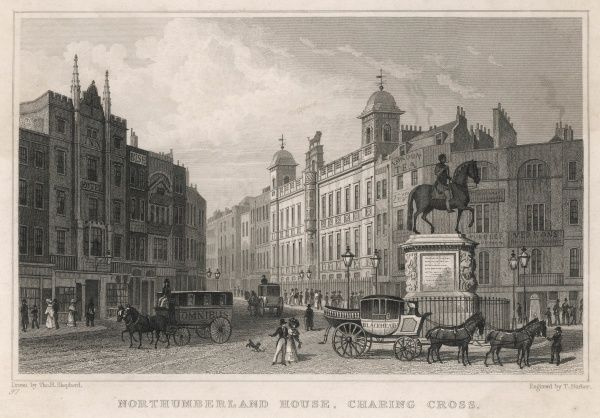 A street in central London - the Strand enters Trafalgar Square at Charing Cross