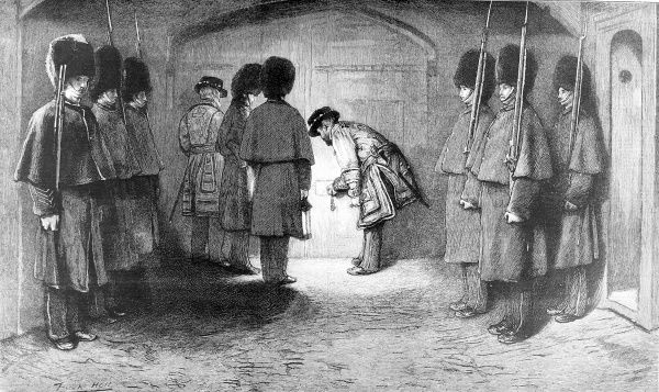 Engraving showing part of the Ceremony of the Keys at one of the gates of the Tower of London, 1875. A detachment of guardsmen, in their bearskin hats, stands by as the Chief Yeoman Warder of the Tower locks the gate