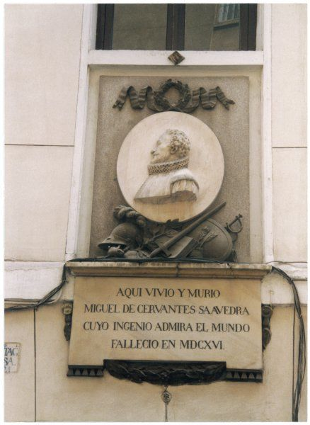 MIGUEL DE CERVANTES Commemorative plaque on the wall of the Spanish novelist's home in Madrid