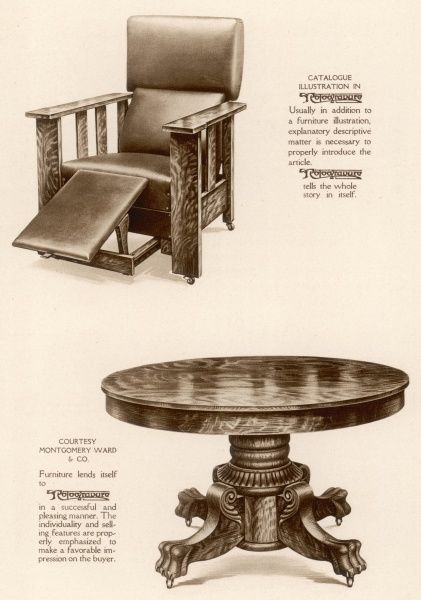 A cumbersome chair and table from a period not famed for the grace and elegance of its furniture