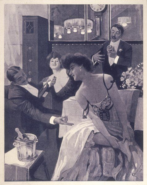 A gentleman asks a lady to remove her shoe, so that he may drink champagne from it; they say it tastes better that way