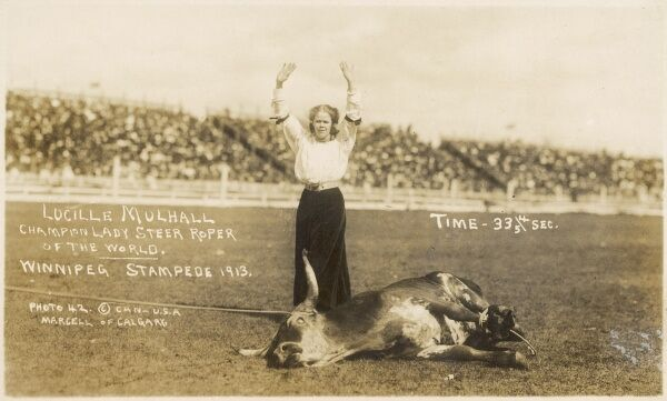 Lucille Mulhall - the Champion Lady Steer Roper of the World at the Winnipeg Stampede of 1913. She only took 33 4/5 seconds to rope this unfortunate bull!