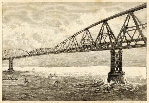 The railway bridge project of Schneider and Hersent, high enough over the water for even the largest ships to pass beneath