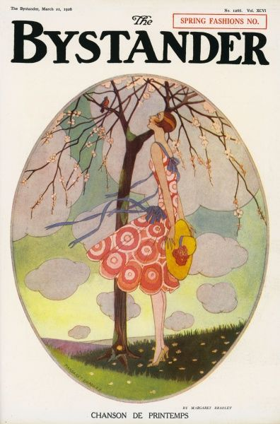 Lovely illustration featuring a girl in a pink dress, holding a straw hat enjoying the warbles of a bird in a tree