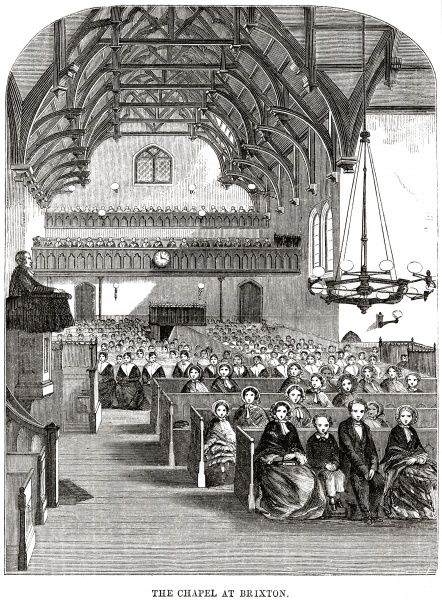Interior of the chapel at Brixton Prison. Date: 1862