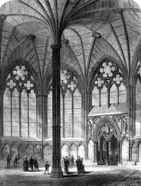 Engraving showing the interior of the Chapter House of Westminster Abbey, in 1873, when it had just been restored. Date: 29 March 1873