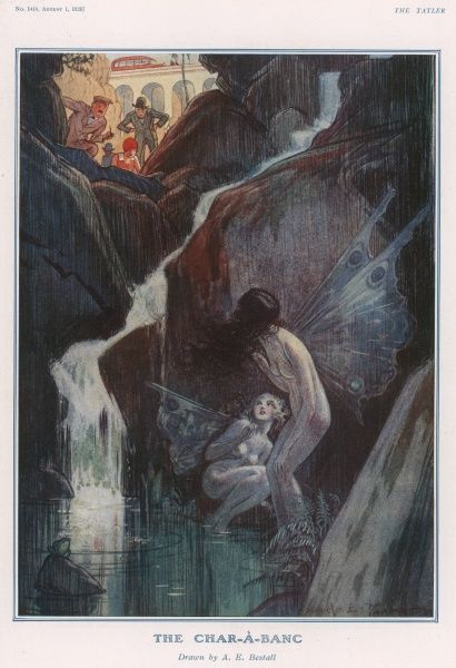 A fantasy scene showing two fairies hiding beside a waterfall. They cower from the humans looking from 'real world' above. Alfred Bestall (1892-1986) is best-known as the artist who drew Rupert Bear for thirty years. Previous to this