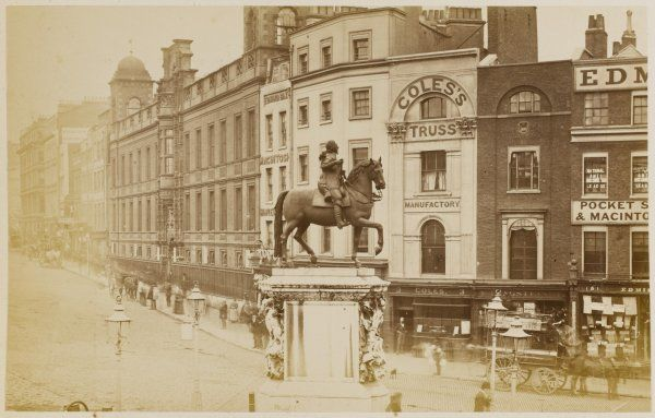Charing Cross before development, with the equestrian statue of the royal martyr, Charles I