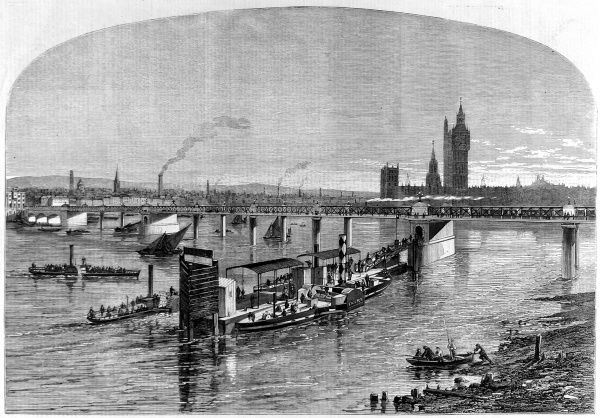 Engraving of the Charing Cross railway bridge over the Thames, with Westminster in the distance, from the Illustrated London News, 31st March 1860. This illustration was published whilst the bridge was still being constructed and Charing Cross station