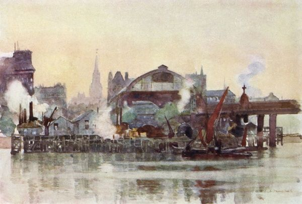 A fine watercolour of the station seen from the Thames, with hay wharves and barge shipping in the foreground. Date: 1905