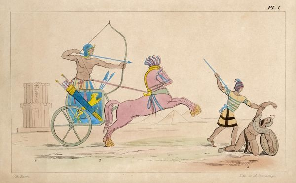 ANCIENT EGYPT Charioteer and foot-soldier in action, not very far from the Pyramids