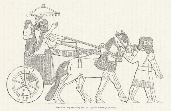 An Assyrian ruler rides in his chariot, drawn by two horses, with two grooms and two attendants