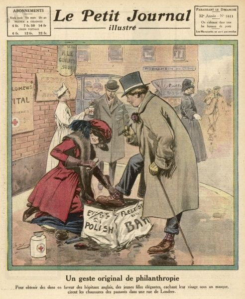 To raise money for hospitals, English girls offer their services as shoeblacks to passing gentlemen in the streets of London