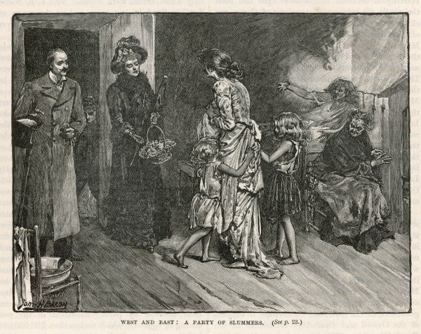A charity visit to a slum home Date: circa 1880