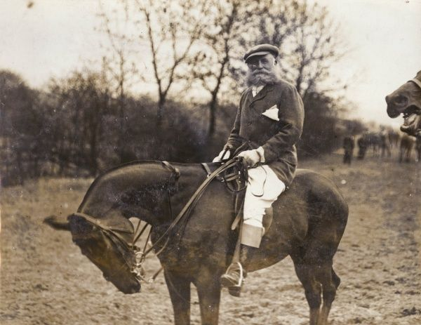 Charles Augustus Stanhope, 8th Earl of Harrington (1844-1917), royal aide-de-camp, known as the Grand Old Man of Polo. Seen here on horseback in a field