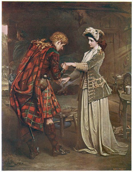 Prince Charles Edward Stuart bids farewell to Flora MacDonald who aided his escape