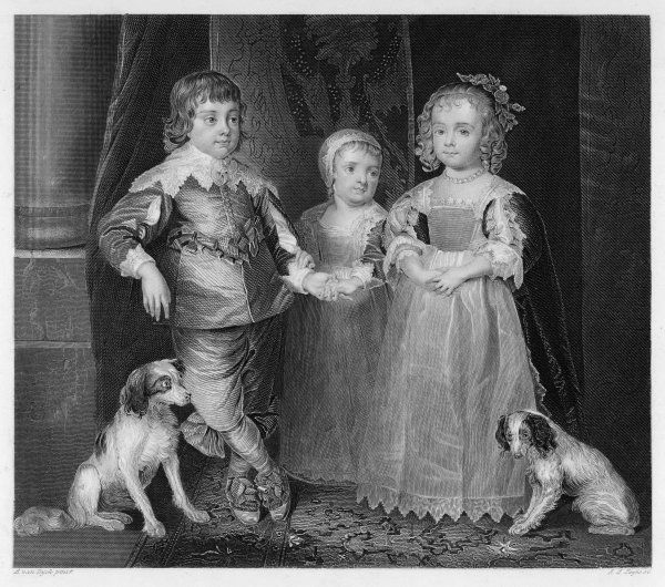 CHARLES I (1600 - 1649) Charles (later Charles II), James, Mary and their dogs