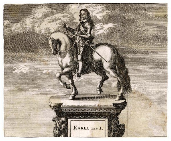 CHARLES I OF ENGLAND The statue of Charles on his horse, at Charing Cross, London ' showing part of the decorative pediment with the inscription: 'Karel Den I&#39