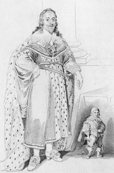 Jeffrey Hudson aged 30 years, standing beside King Charles I Date