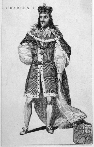 CHARLES I OF ENGLAND Full length portrait in ermine trimmed robes and wearing a crown
