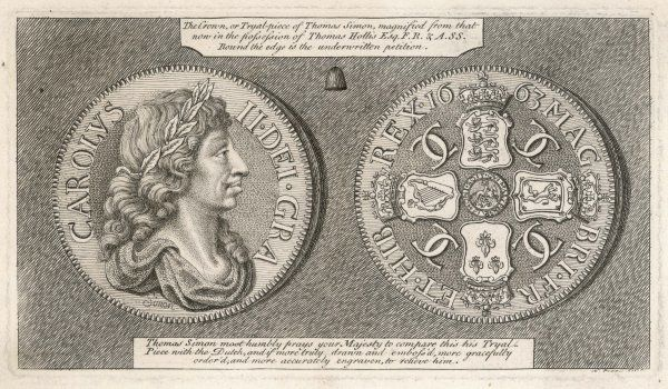 The Crown or Tryal-piece of Thomas Simon during the reign of Charles II